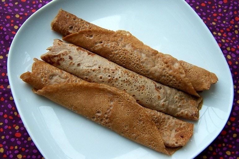 Crêpes met kastanjemeel, veganistisch, zonder ei, zonder melk