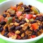 Chili met zwarte sojabonen, vegetarisch, veganistisch, koolhydraatarm