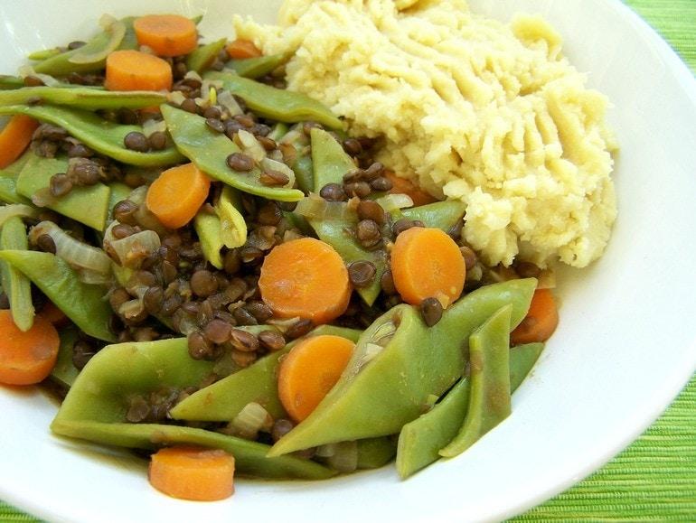 Snijbonen-linzen stoofschotel, veganistisch