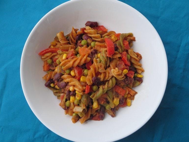 Mexicaanse one-pot-pasta, vegan