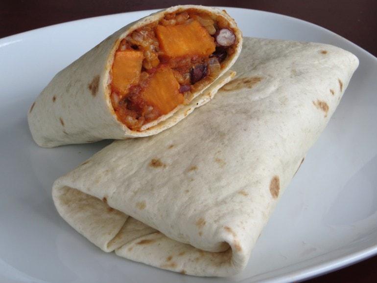 Burrito's met zoete aardappel, vegan