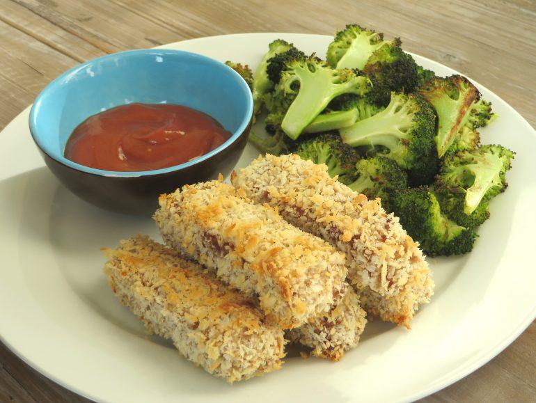 Tempeh katsu met geroosterde broccoli, vegan