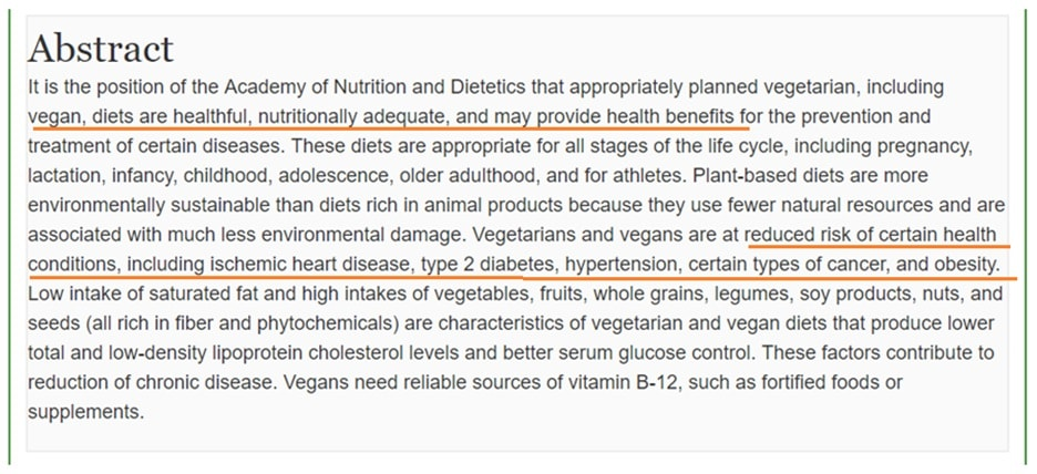 Academy of Nutrition and Dietetics, position paper