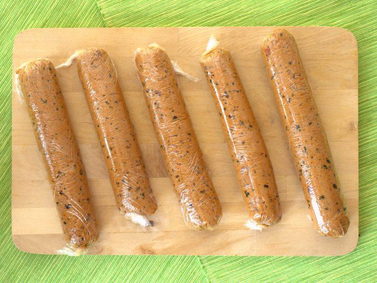 Seitanworstjes met zeewier, vegan