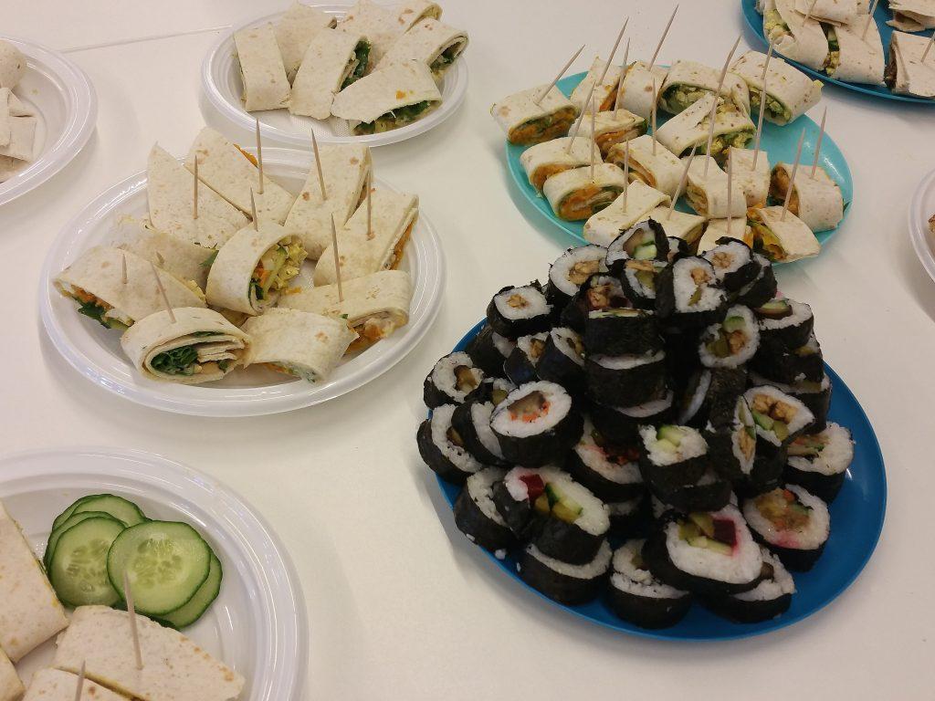 Vegan sushi en wraps