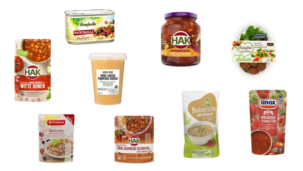 Gezonde producten maaltijden vegan