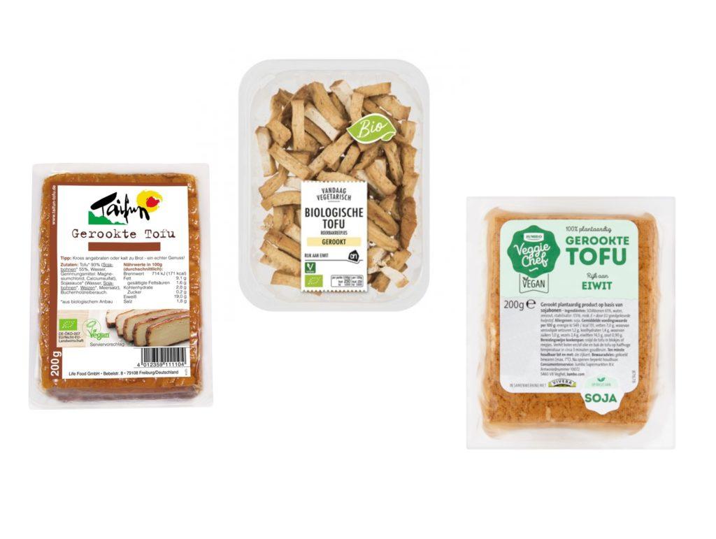 Vleesvervangers gerookte tofu vegan spekjes